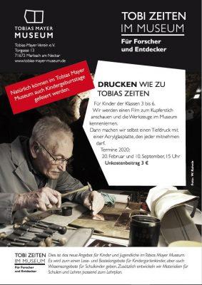 Tobizeit: Drucken wie zu Tobis Zeiten @ Museumskeller, Tobias-Mayer-Museum | Marbach am Neckar | Baden-Württemberg | Deutschland